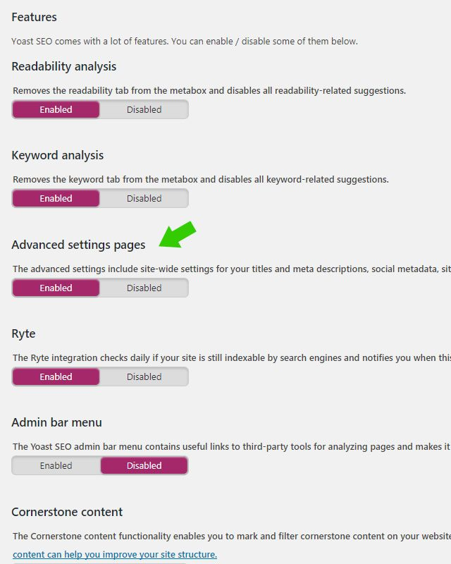Advanced settings pages Yoast SEO