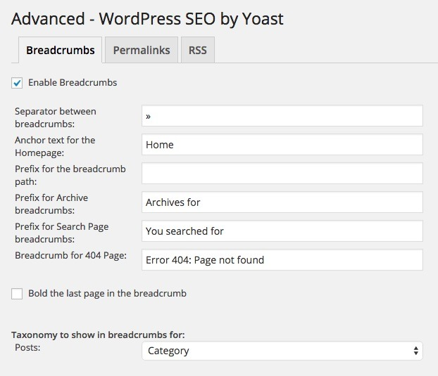 Implement WordPress SEO breadcrumbs - by Yoast