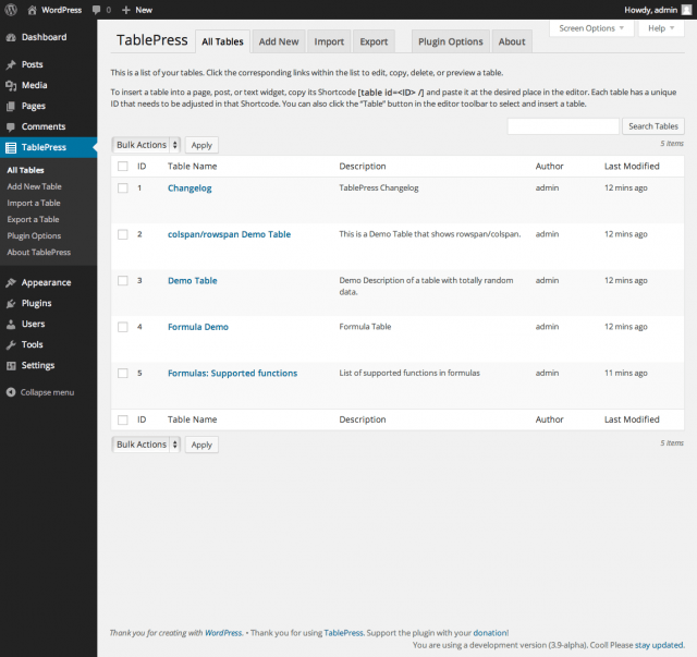 plugin table wordpress screenshot all table