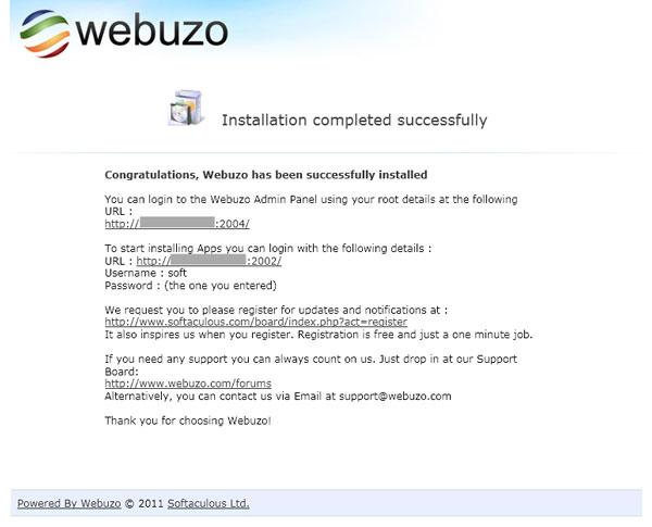 Install Webuzo Berhasil - webuzo.com