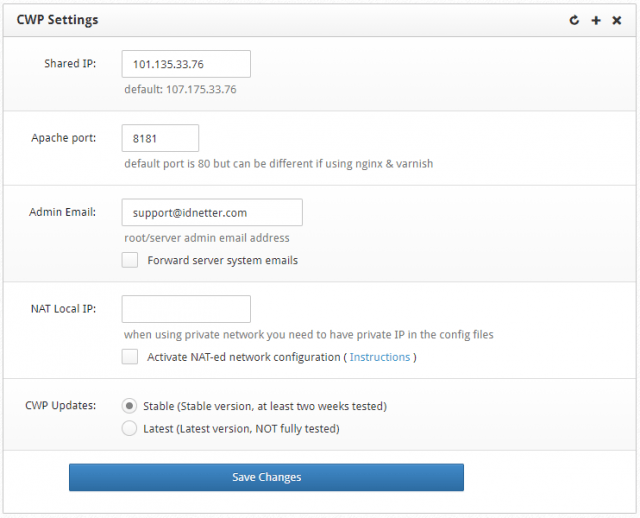 cara install CentOS Web Panel CWP - Setting