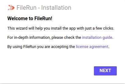 Step 1 - FIleRun