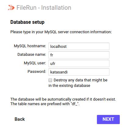 Step 3 - FIleRun