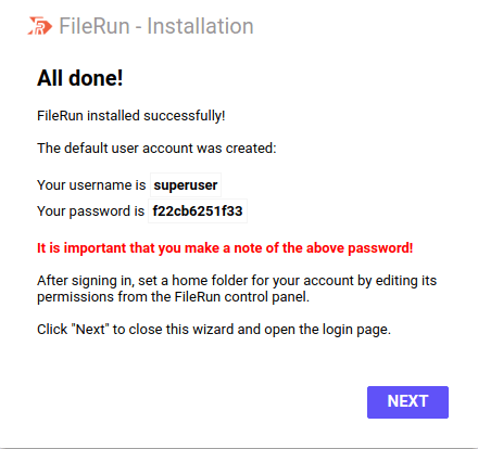Step 4 - FileRun